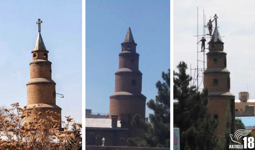 Cross put back on top of Tabriz church after outcry