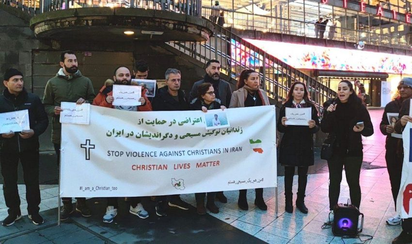 Stockholm protesters gather in support of Iranian Christians